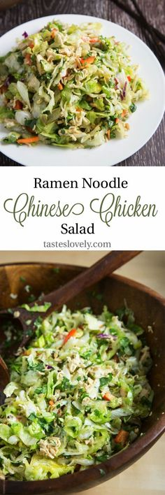 This recipe is the BEST! Crunchy ramen noodle Chinese chicken salad (Salad Recipes To Try) Ramen Noodle Recipes, Ramen Noodles, Asian Recipes, Healthy Recipes, Ethnic Recipes, Chinese Recipes, Oriental Salad, Chinese Chicken, Soup And Salad