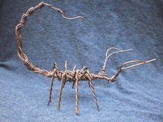 Copper Wire Scorpion Handmade Unique Gothic Home Decor Halloween Sculpture Creepy Insect Web Predator Hunter Poison