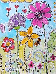 doodling with watercolors (flowers, hearts)