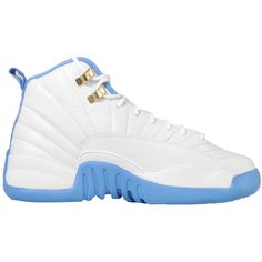 Jordan Kid's Air 12 Retro GG, WHITE/METALLIC GOLD-UNIVERSITY BLUE ($190) ❤ liked on Polyvore featuring shoes and s h o e s