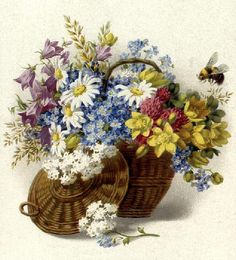 Vintage spring flower basket by ronijj, via Flickr