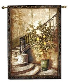 Lemon Tree Stairwell Wall Tapestry M-HWGDLS, 50-59Incheswide, 56W, 80-99Inchestall, 80H, Art, Beige, S, Big, Brown, Carolina, USAwoven, Cotton, European, Famous, Gdls, Hanging, Home, Hwgdls, Large, Lemon, Polyester, Really, Seller, Stair, Staircase, Stairs, Stairwell, Tapastry, Tapestries, Tapestry, Tapistry, Top50, Tree, Vertical, Wall, Woven, Yellow, Yellow, Bestseller