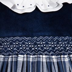 Love, love, love the white-collared velvet with the blue plaid and smocking