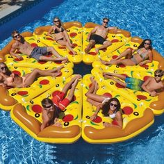 You've seen the slice of pizza pool float that consists of 1 slice of pizza. But who in their right-mind wouldn't want the rest of the pizza? This pizza pool float gives you a total of 8 pizza slice p. Giant Pool Floats, Cool Pool Floats, Pizza Pool Float, Pool Floats For Adults, Inflatable Float, Giant Inflatable, Inflatable Island, Pool Rafts, Water Floaties