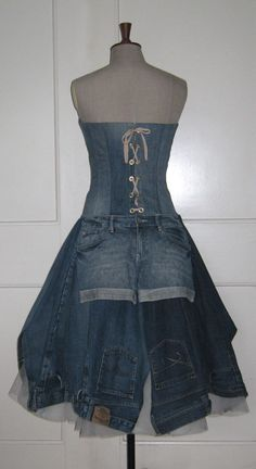 Size 10 strapless dress made from recycled jeans door BespokeDresses