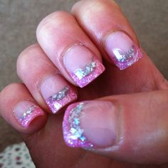 Gel acrylics with silver glitter half moon and pink glitter tip