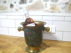 French Brass Enameled Champagne Ice Bucket by VintageRetroOddities