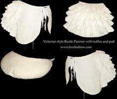 Victorian Petticoat Pannier Bustle made for you by Rhonda Griffin. This lovely bustle slip was custom made NEW from a Laughing moon Bustle pattern. This is the shorter version of the lobster cage bustle that adds the astonishing lovely shaping to the bustle dresses and gowns that feature trains. We use heavy weight muslin fabric. The petticoat is formed by 4 tiers of frothy ruffling sewn over the four (4) steel hoop bones that form the cage.