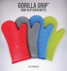 The Original GORILLA GRIP Non-Slip Silicone Oven Mitt, Red -Single Oven Mitt