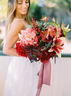 Jewel toned ranch wedding inspiration | Bridal bouquet #wedding_videography