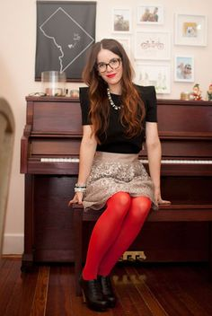 H&M top, J. Crew skirt, ModCloth red tights, Nine West heels, and vintage necklace and bracelets.