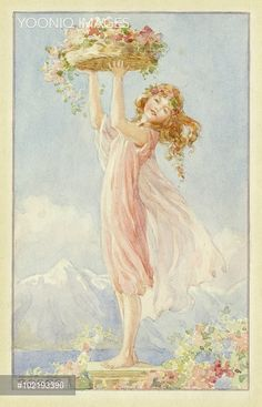 'Roses' - girl in pink dress holding basket of roses.