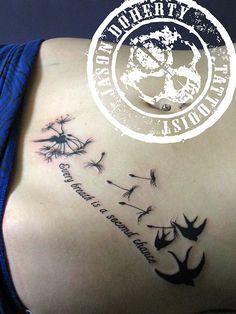 Jessica Dandelion tattoo (hand drawn text).   Flickr - Photo Sharing!