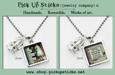 """Two sided charm or pendant with """"best friend queen"""" and """"when i count my blessings i count you twice"""". Vintage collage art with a bird cage. Wear alone or combine with more charms to create an individualized gift for your best friend! Each charm has a clip at the top that will easily attach to any of our necklace or bracelet chains! $13.99 by Pick Up Sticks Jewelry."""