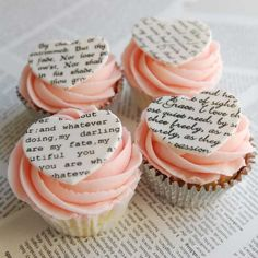 Creative Valentine Cupcakes - Using edible ink, print an excerpt of your favorite book or poem onto transfer paper, then place on white chocolate hearts. Set each heart on top of pink frosting. Book Cupcakes, Cupcake Art, Cupcake Cookies, Cupcake Table, Cupcake Ideas, Valentine Day Cupcakes, Valentines Day Treats, Cake Stencil, Stencils