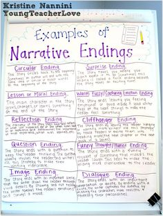 Writing Narrative Endings - Young Teacher Love Writing Narrative Endings Anchor Chart - Young Teacher Love by Kristine Nannini Teaching Narrative Writing, Fourth Grade Writing, Personal Narrative Writing, Middle School Writing, Essay Writing, Personal Narratives, Narrative Essay, Informational Writing, Kindergarten Writing
