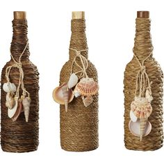 Found it at Wayfair - 3 Piece Glass Stopper Decorative Bottle Set Beer Bottle Crafts, Wine Bottle Art, Painted Wine Bottles, Diy Bottle, Liquor Bottles, Glass Bottles, Seashell Art, Seashell Crafts, Beach Crafts