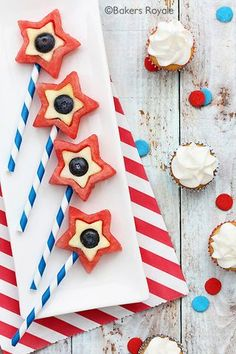 Red, White and Blue Desserts: Fourth of July Fruit Pops from Bakers Royale | Gooseberry Patch slideshow