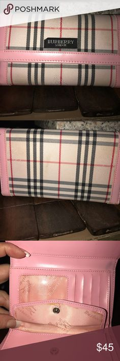 Burberry London wallet Pink Burberry plaid tri-fold wallet. Burberry Bags Wallets
