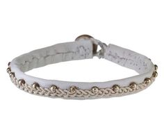 White Leather and Emboridered Pewter Bracelet