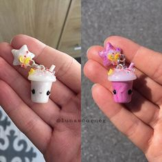 Heres my color changin drink from last weeks video. Left picture is inside and right picture is the same charm after a couple of seconds in the sun outside.☀️ #polymerclay#clay #fimo #handmade #håndlaget#diy#madebyme#thursday#july#craft#create#photooftheday#potd#jewelry#smykker#icecubes#drink#star#kawaii#smile#love#purple#colorchanging#color#little#keychain#norway#summer
