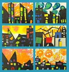 kindie lesson- city at night with van Gogh sky!