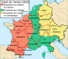 Charlemagne and the Carolingian Empire--- Map of the Treaty of Verdun in 843. It was the division of the Frankish Empire among Louis's heirs into three portions that would lead to future political divisions in Europe.