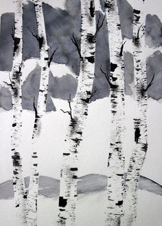 Watercolor Painting ORIGINAL Trees Birch by PattisWatercolor, $24.00