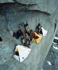 Vertical camping. I have got to do this on a rock climbing trip.