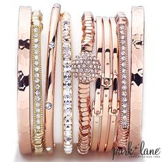 #Arm Party!!!  all from Park Lane Jewelry  bracelets #rosegold #parklanejewelry