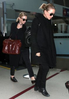 Olsens Anonymous Blog Stye Fashion Mary Kate And Ashley Olsen Twins All Black On Black Basics Airport Croc Jeans Jacket Loafers Boots