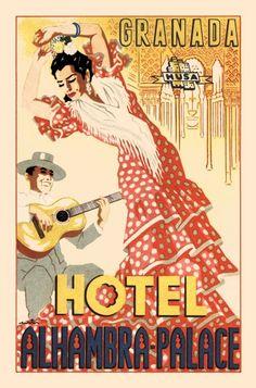 Granada, España cartel anunciador de espectáculos del Hotel Alhambra