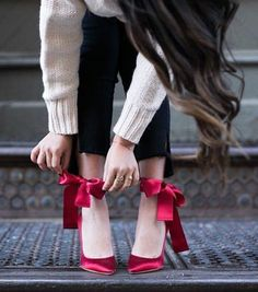 Bright satin heels and flats are an instant mood-lifter. The style of spring shoes looks great with denim, too. Red Bow Heels, Red Shoes, Wendy's Lookbook, Spring Shoes, Ankle Strap Heels, Faux Leather Jackets, Classy Outfits, Fashion Shoes, Pumps