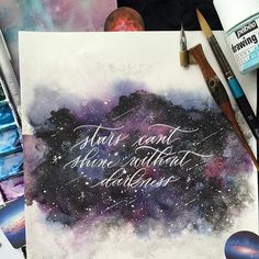 Flatlay from my previous video post for #ss_galaxy by @bsurelysimpleblog @bsurelysimplechallenge #simplealphabets Check out the video post on how I combined my favorite pointed calligraphy with masking fluid and galaxy!  -------------------------------------------- #surelysimplechallenge #galaxy #maskingfluid #pointedpen #type #watercolor #universe #tyxca #50words #art_empire #calligraphy #calligraphyph #handmadefont #TeeJayAlipio2016 #typespire #thedailytype #ligature #calligraphymasters