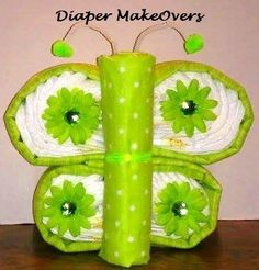 Butterfly Diaper Cake Baby Shower Gift/Centerpiece by DiaperMakeOvers on Etsy