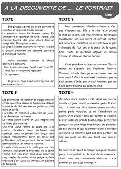 rédaction, production d' écrits, expression écrite, français, portrait, écrire, CE2, CM1, CM2, cycle 3
