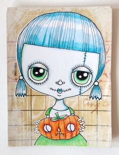 Aceo Original Art Halloween by LittleNore on Etsy, £8.00
