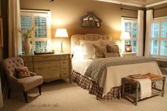 Nice guest bedroom....like the dresser as a side table, checked bed skirt and love the way the curtains are done (Savvy Southern Style)