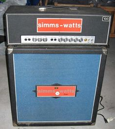 '69 Simms-Watts AP100 MKI (EL34) FANE w/RCF drivers in '72 4×12 Super Cab! Ultra-Linear, Powered by 4 Mullard EL34 + huge PARTRIDGE PT & OT. Preamp has two bridgeable channels, MV & Presence. Tubes- has four 12AX7 & one 12AU7. BRIGHT Tone Boost/Cut Control. Huge warm cleans & similar to HIWATT when dimed. Overbuilt & LOUD. They were used at the first two GLASTONBURY Festivals, By MICK RONSON & PINK FAIRIES. Killer PA & Bass amps.. The company used to design military aircraft..