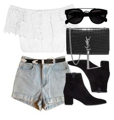 Untitled #5889 by laurenmboot on Polyvore featuring polyvore, fashion, style, Miguelina, American Apparel, Stuart Weitzman, Yves Saint Laurent, ASOS and clothing