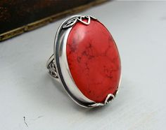 passion flower  red coral cocktail ring by sirenjewels on Etsy