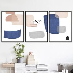 Scandinavian Art Set Of 3 Prints Blue And Pink Art Geometric Art Modern Artwork Digital Prints Large Wall Art Abstract Pictures 3 Poster Nordic Art, Scandinavian Art, Geometric Poster, Geometric Art, Modern Artwork, Modern Wall Art, Rose Line Art, Indigo Walls, Cuadros Diy