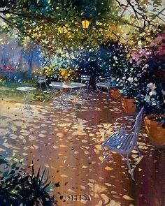 La Tonnelle by Laurent Parcelier Landscape Art, Landscape Paintings, Watercolor Paintings, Watercolours, Dappled Light, Garden Painting, Post Impressionism, Watercolor Techniques, Painting Inspiration