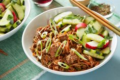 Bulgogi Beef & Soba Noodle Stir-Fry with Marinated Vegetables. Visit https://www.blueapron.com/ to receive the ingredients.