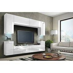 TV Wohnwand Mediawand in weiß mit LED / Hochglanz oder Matt (Hochglanz weiß)