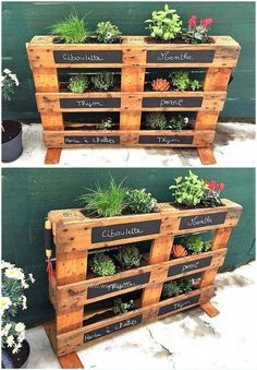 37 Pretty Diy Pallet Project Ideas DIY Garden Yard Art When growing your own lawn yard art, recycled Diy Garden Projects, Diy Pallet Projects, Palette Projects, Outdoor Pallet Projects, Wood Projects, Potager Palettes, Herb Garden Pallet, Herbs Garden, Diy Herb Garden