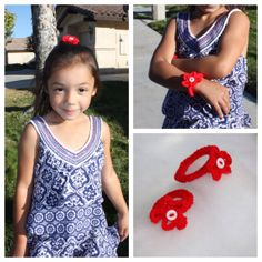 Crotchet red hair ties with button accents. Stocking stuffer for you or your little girl. Holiday festive or all year long.