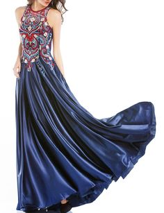 LOVIERA Womens Evening Prom Dress Embroidery Satin Elegant 2018 New Arrival6Navy *** Be sure to check out this awesome product-affiliate link. #WomenDresses