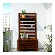 IKEA - ÄPPLARÖ, Bench w/wall panel + shelf, outdoor, For added durability and so you can enjoy the natural expression of the wood, the furniture has been pre-treated with several layers of semi-transparent wood stain.