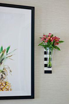 diy striped wall vases